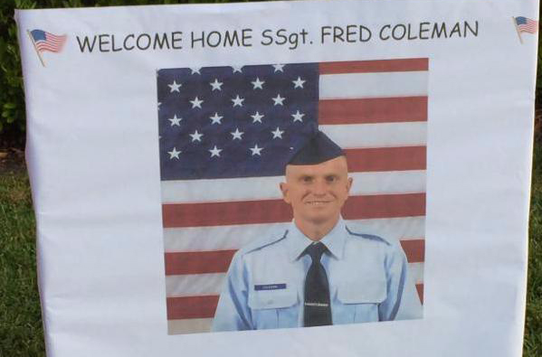 photo of poster welcoming home Staff Sgt. Fred Coleman