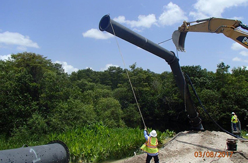 photo of temporary pump being installed at L-28 Levee
