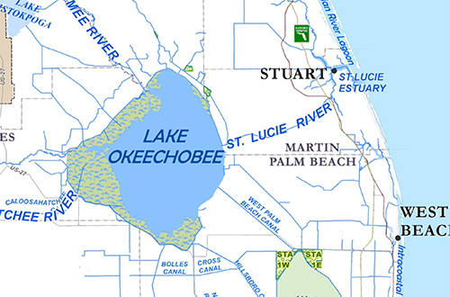 map of Lake Okeechobee and Caloosahatchee and St. Lucie estuaries