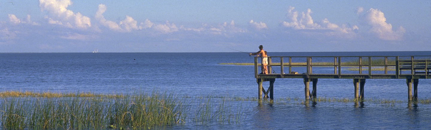 fishing on pier on Lake Okeechobee