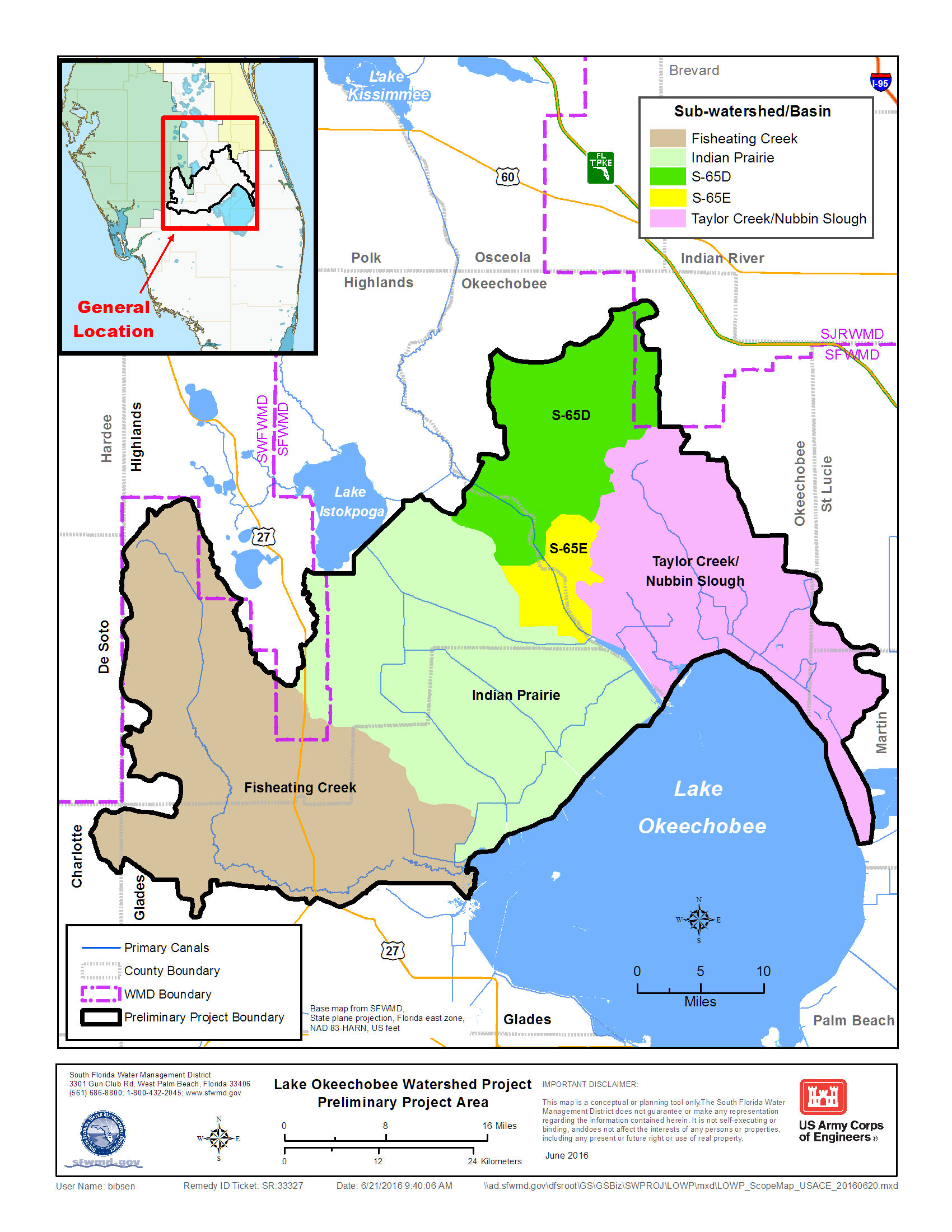Florida Watershed Map.Map Lake Okeechobee Watershed Restoration Project South Florida