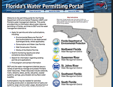 screenshot of Florida's Water Permitting Portal