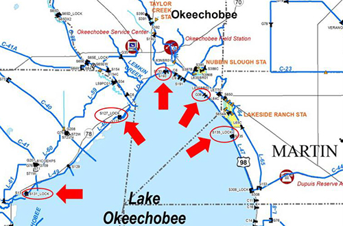 map of navigation locks on the north shore of Lake Okeechobee