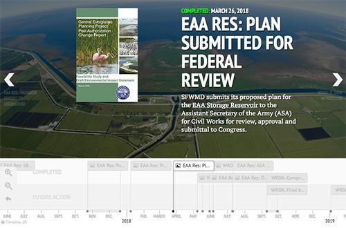 screenshot of timeline for authorization of EAA Storage Reservoir project